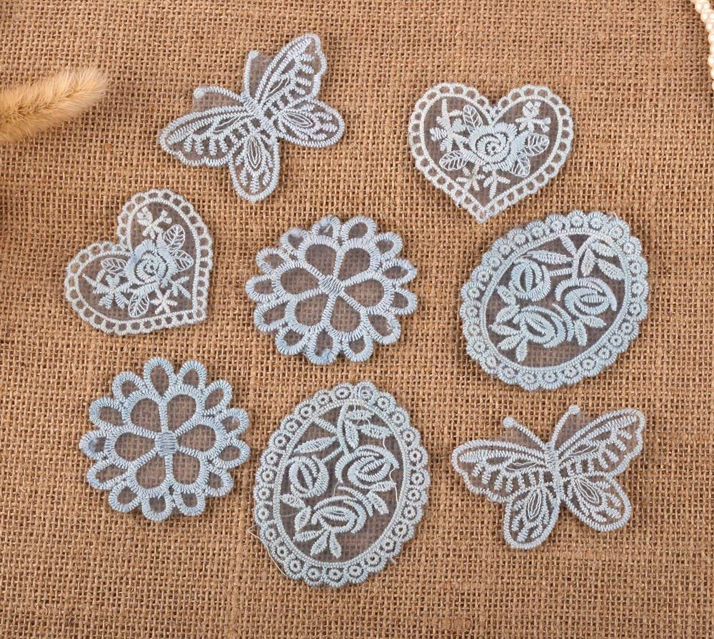 CraftbuddyUS 8 x Vintage Mixed Blue Lace Motifs Patches Sewing Sew on Stick on Crochet