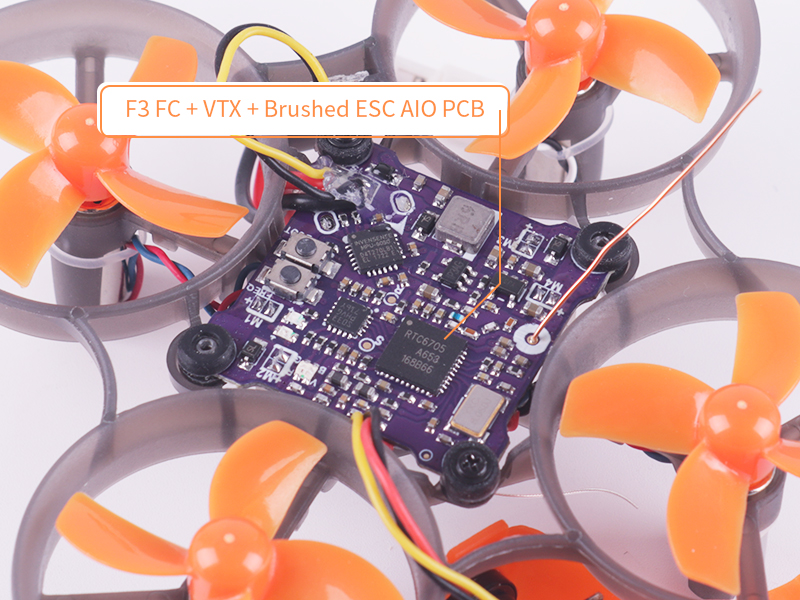 Makerfire Armor 65 Pro Frsky Receiver 65mm FPV Micro Racing Drone 800TVL with 716 Motor 3.8V 260mAh 30C LiPo Battery