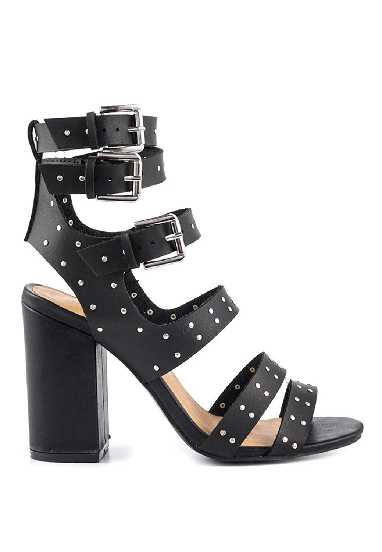 359a19b5d94 Get Quotations · London Rag Black Multi Buckle Strap Block Heels