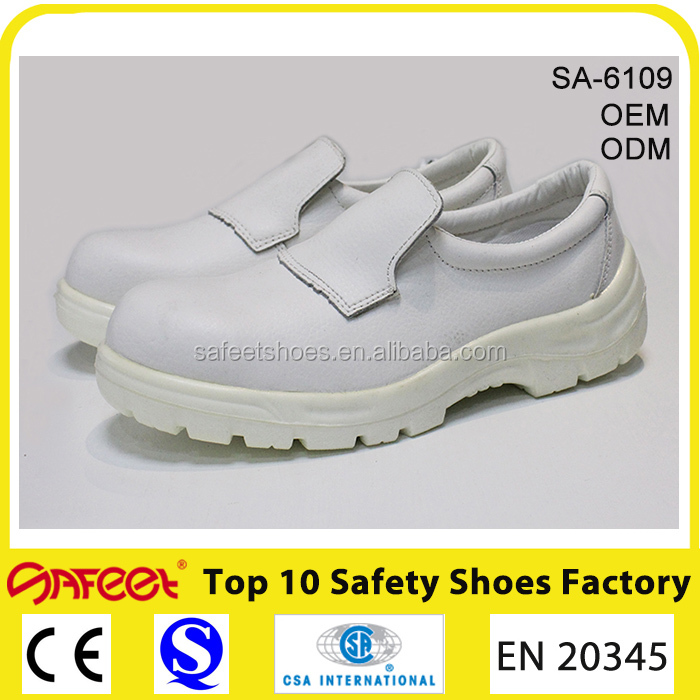 White leather breathable light weight anti static shoes factory korea and surgeons shoes and rubber boot cover (SA-6109)