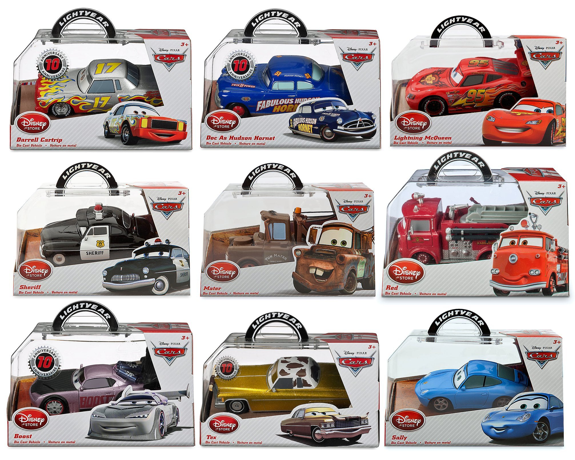 Disney Pixar Diecast Cars Movie Toy Collector Vehicle Set Lighning McQueen-Doc as Hudson Hornet-Tow Mater Truck-Red Fire Truck-Sheriff Polic Car-Boost-Sally-Tex-Darrell Cartrip 1:43 Scale Playset