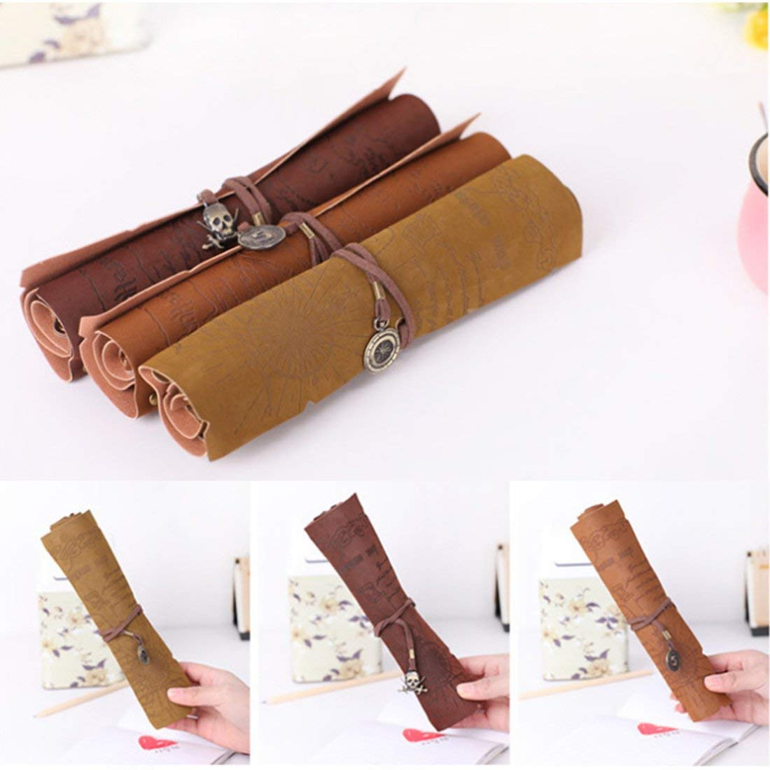 Rollable Pen Bags Pencils Bags, Zubita 3 in 1 Creative Treasure?Map Pirate Map Style Pencils Wraps Multi-purpose Pouch PU Suede?Leather Pencils Holder for Pens Pencils and Cosmetic?Brushes