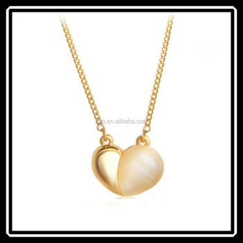 Popular Design Gold Opal Heart Pendant Necklace Business For Sale