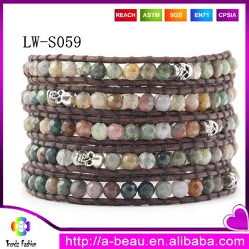 New Arrivals 2014 Popular 4MM Indian Precious Agate Beads and Skull 5 Leather Wrap Bracelet For Opening Ceremony