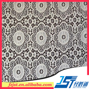 Heavy white cotton lace embroidery gown fabric wholesale