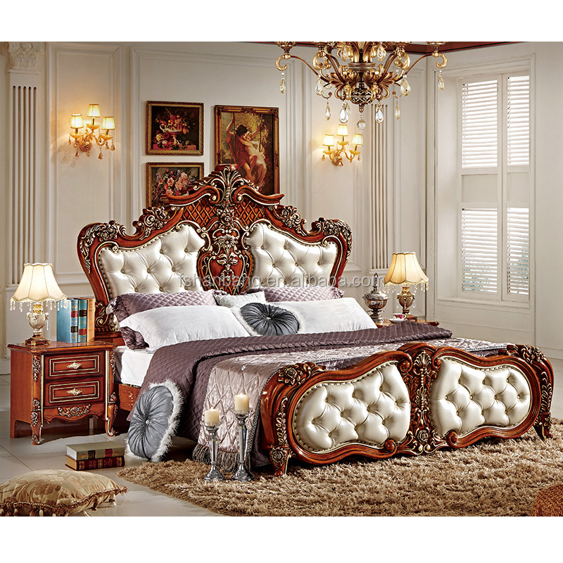Stock Dark Brown Red King Size Luxury Royal Wooden Bedroom Furniture Set