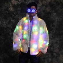 WYY Нарядные Костюмы для бальных танцев, яркие диджейские меховые пальто, светящееся платье, мужская светящаяся одежда для шоу роботов, одежд...(Китай)