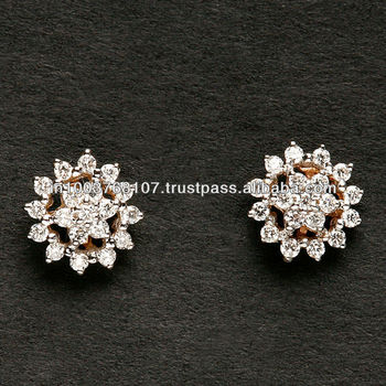 Pave Setting Diamond Tops In Gold Rhodium Plated Earring Small Daily Office