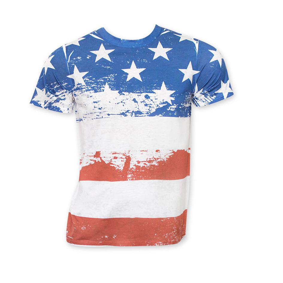 High Quality 3d Full Sublimation Printing American Flag T Shirt For