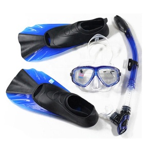 Professional diving mask and snorkel rubber swimming fins set