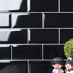 "In stock 4""x8"" black beveled subway ceramic wall tiles for kitchen"