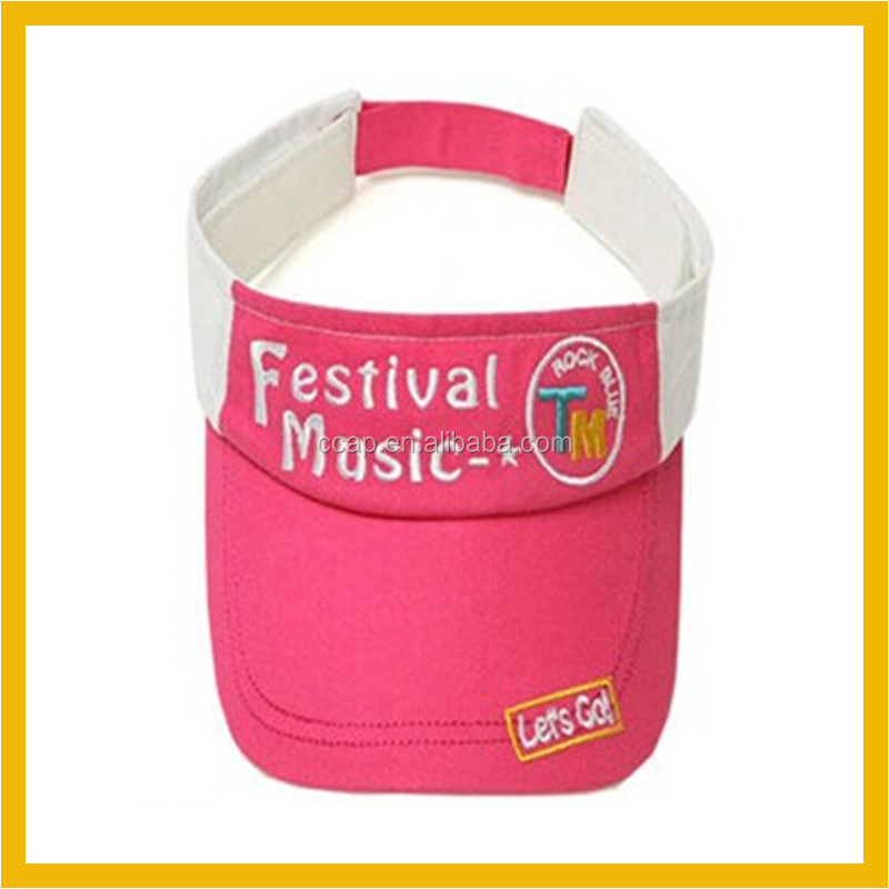 2015 lovely two-tone embroidered sun visor cap for little children
