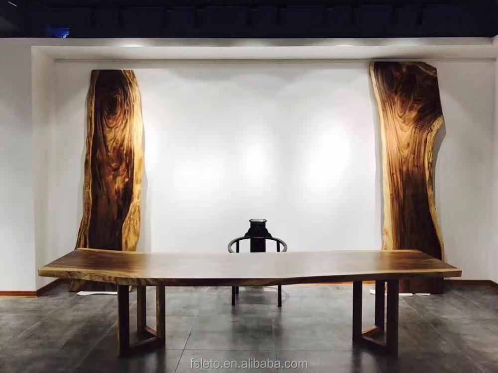Liefde Walnoot Hout : Moderne zwarte walnoot hout live edge slab vergadertafel met ijzer