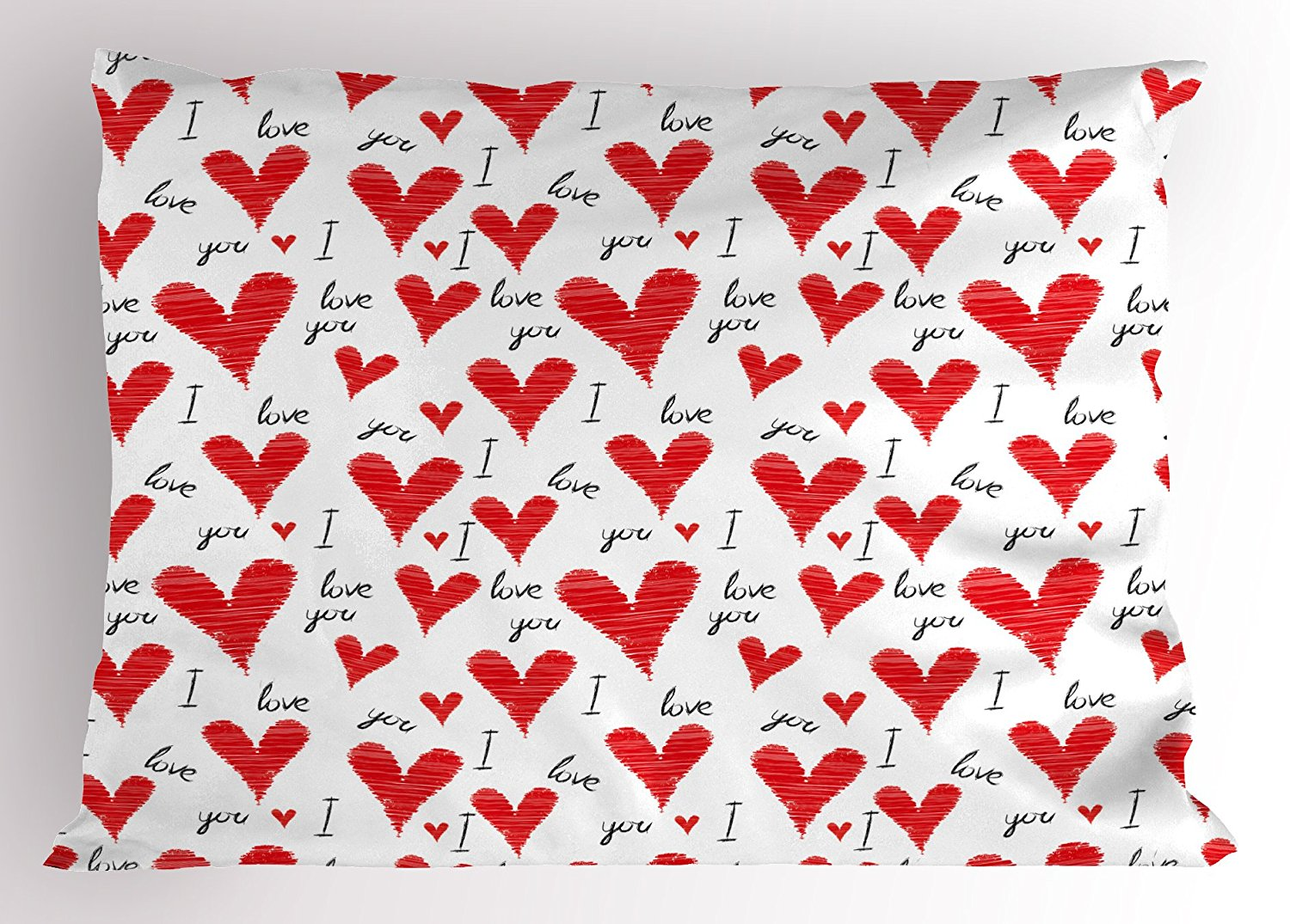 Love Pillow Sham by Ambesonne, Hand Written I Love You Phrases Heart Symbols Valentines Day Inspiration, Decorative Standard Size Printed Pillowcase, 26 X 20 Inches, Vermilion Black White