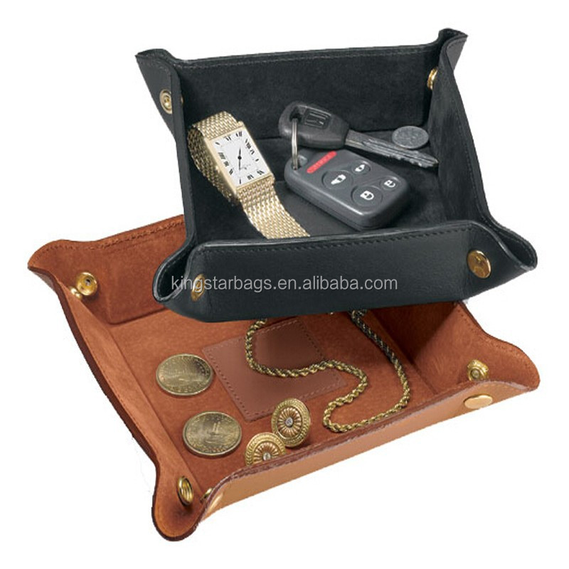 Super Quality Large Multi-Purpose Leather Travel Valet Tray
