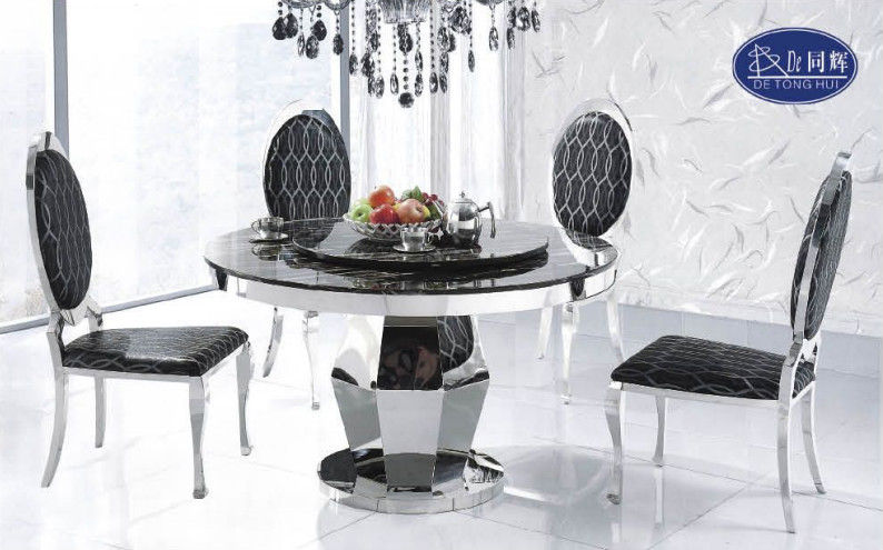 Ct836 Dining Room Furniture Solid Surface Composite Marble Top Table