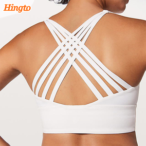Hingto high quality design your own women fitness breathable strappy sports bra