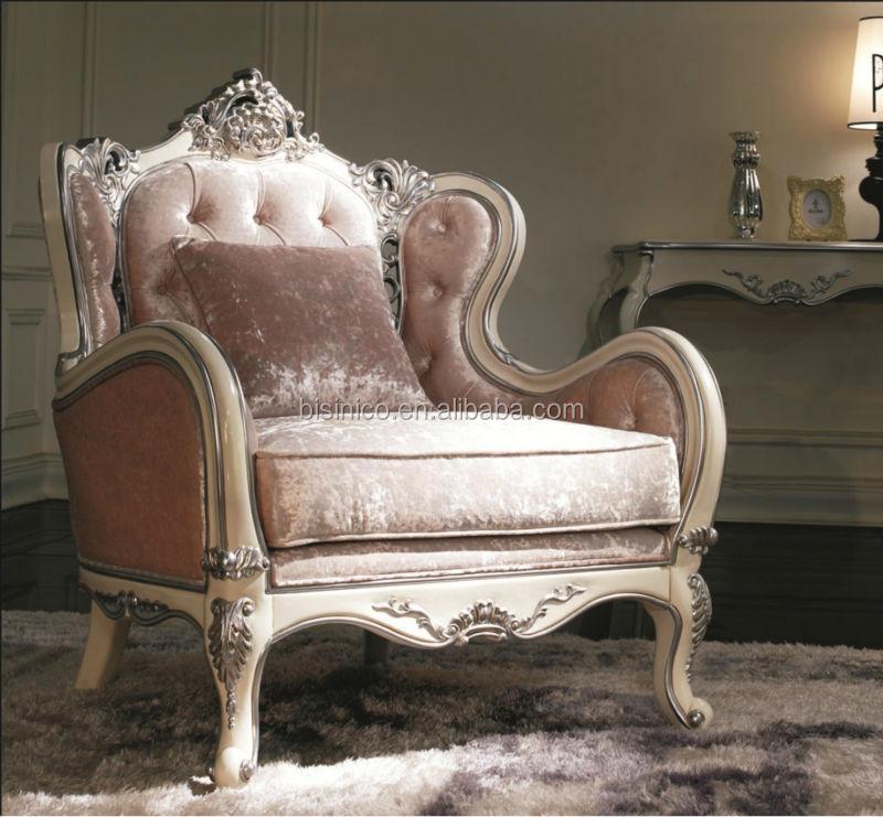 Wood Frame With Silver Leaf Sofa Set , Elegant Living Room