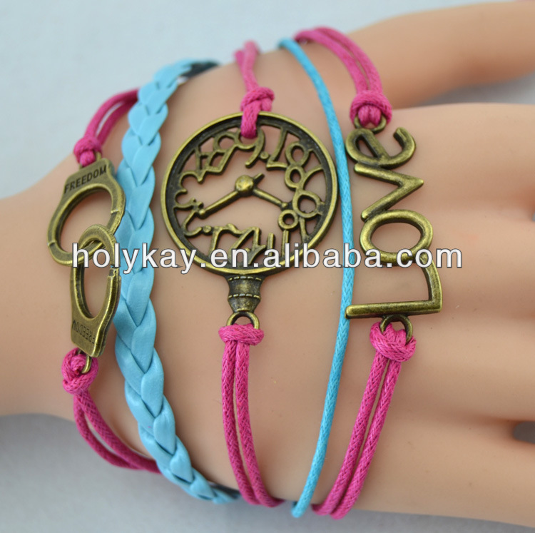 circular ring bracelet with braid,double-color bracelet with handcuff charms,strand Freedom bracelet