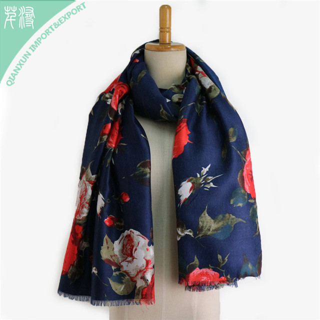 SC-129683 Navy Background Flower Printed Mature Travel Vacation Satin Long Scarf