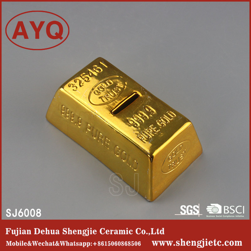Gold Plating Ceramic Money Saving Box For Adults Saving Money