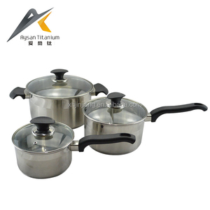 High quality 6pcs per set step and rolled edge C-type glass lid stainless steel amc cookware price