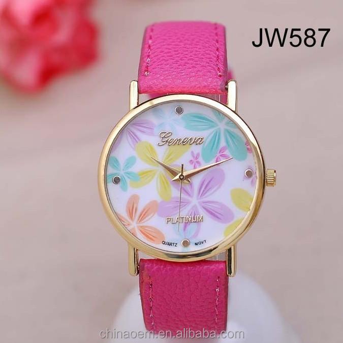 f3854e93d00 2014 venda Quente barato promoção Genebra Casuais relógio de Quartzo rosa  relógios de pulso flor Rose