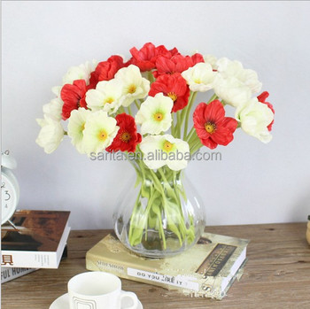 White poppy silk flowers for indoor decoration buy poppy silk white poppy silk flowers for indoor decoration mightylinksfo