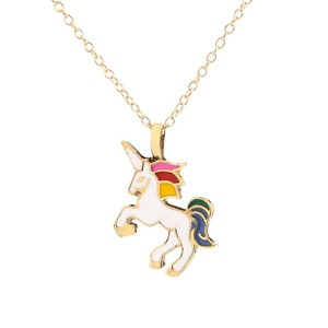 Fashion Gold Plated Jewelry Color Animal Pendant Unicorn Horn Necklace Kids Jewellery