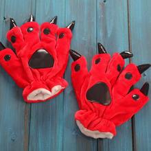 Перчатки унисекс с когтями животных мягкие плюшевые перчатки-лапки с героями мультфильмов перчатки с медведем варежки с покемоном Пикачу Е...(Китай)