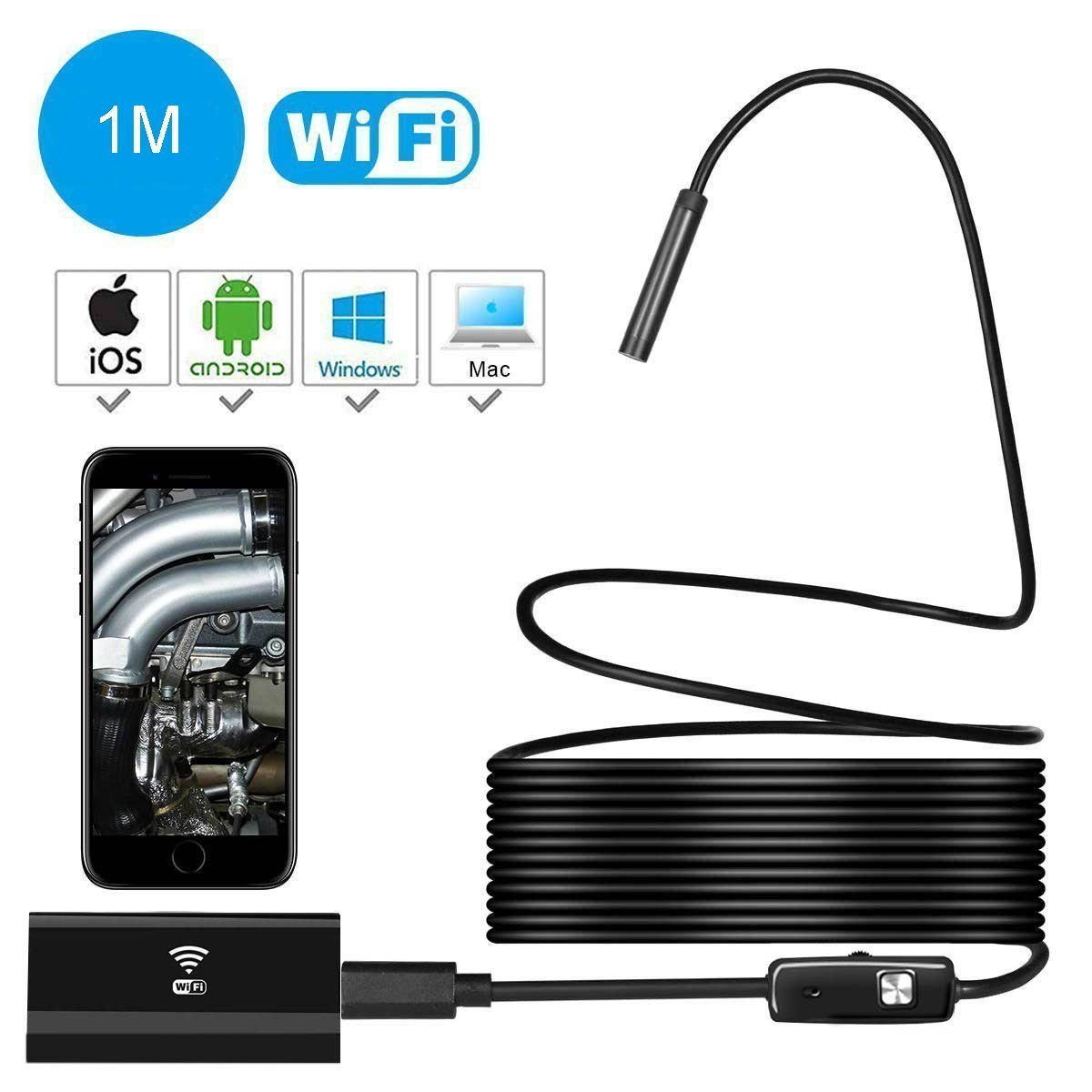 Wifi Endoscope,USB Borescope EFUTONPRO Wireless Borescope Ear Scope Snake Inspection Camera 2.0MP HD IP67 Waterproof for Android iPhone iOS Windows-1M Soft Cable