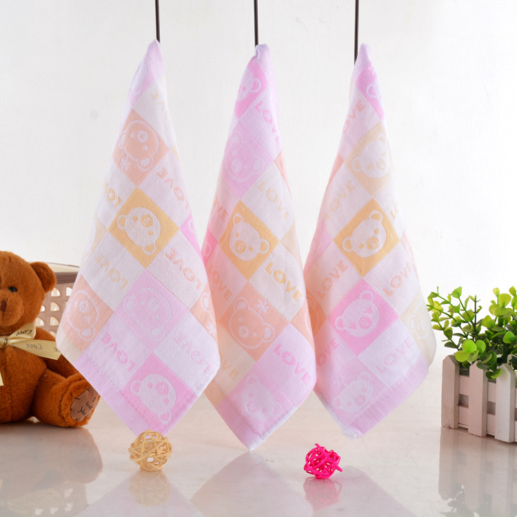 2021 factory direct cartoon organic cotton wash cloth baby saliva towel children's small towel