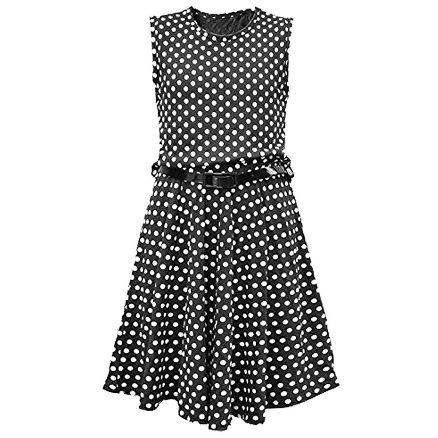 e3865c90964f Get Quotations · New Girls Kids Polka Dot Spot Skater Dresses With Free Patent  Belt Age 7-13