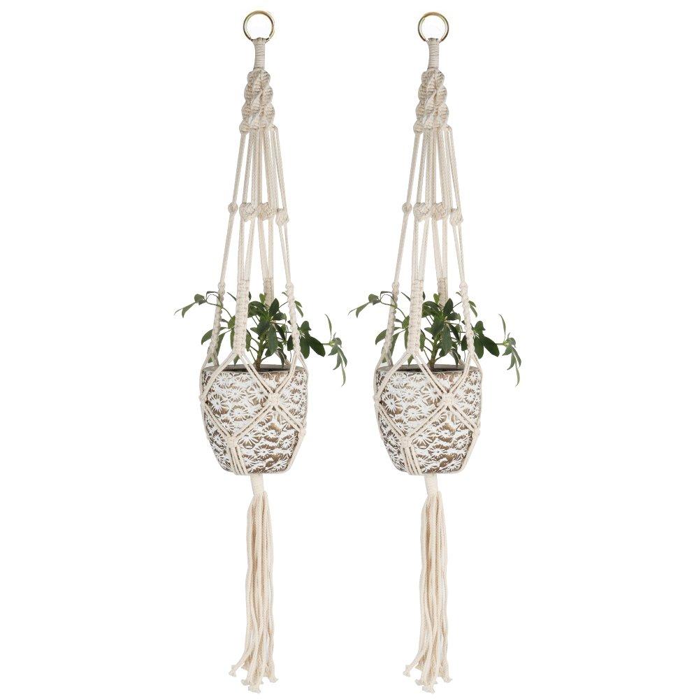 Macrame Plant Hanger Set of 2, Handmade Plant Holder Wall Hanging Planter Basket Cotton Rope 4 Leg 41 inch, Perfect Indoor Outdoor Flower Pots