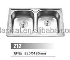 Double Sink Same Size Bowl Stainless Steel Kitchen Sink With Drainer
