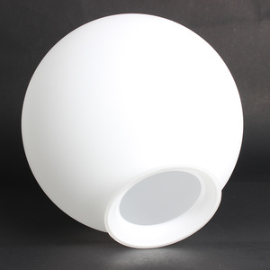Wholesale Mouth Blown Opal White Shiny Glass Ball Lampshades with neck
