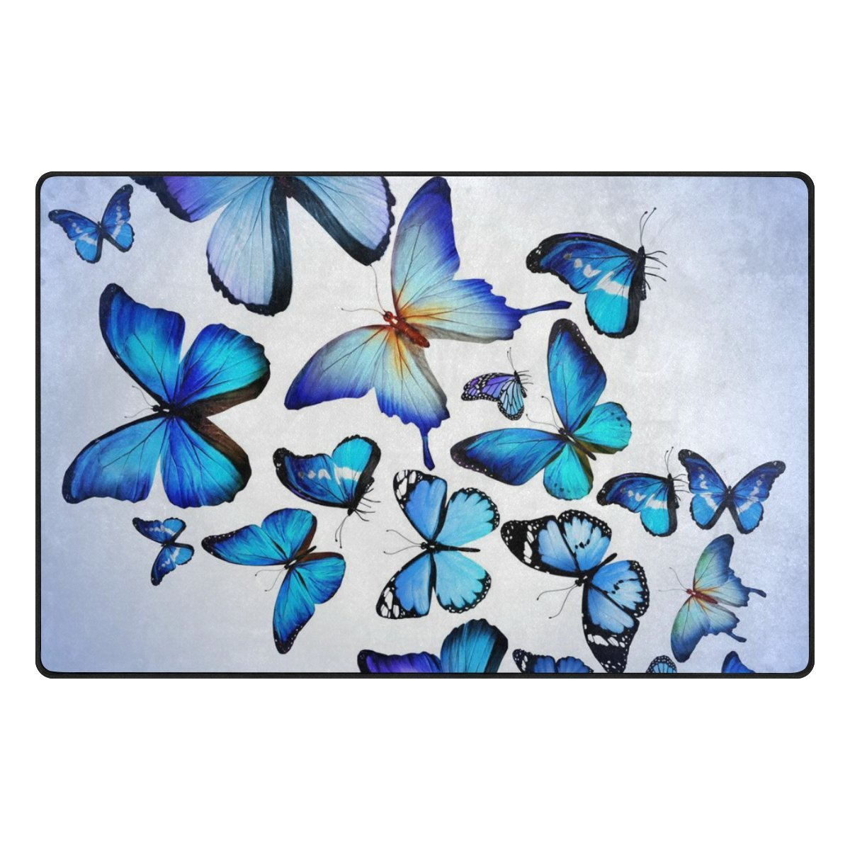 INGBAGS Super Soft Modern Butterfly Area Rugs Living Room Carpet Bedroom Rug for Children Play Solid Home Decorator Floor Rug and Carpets 60 x 39 Inch
