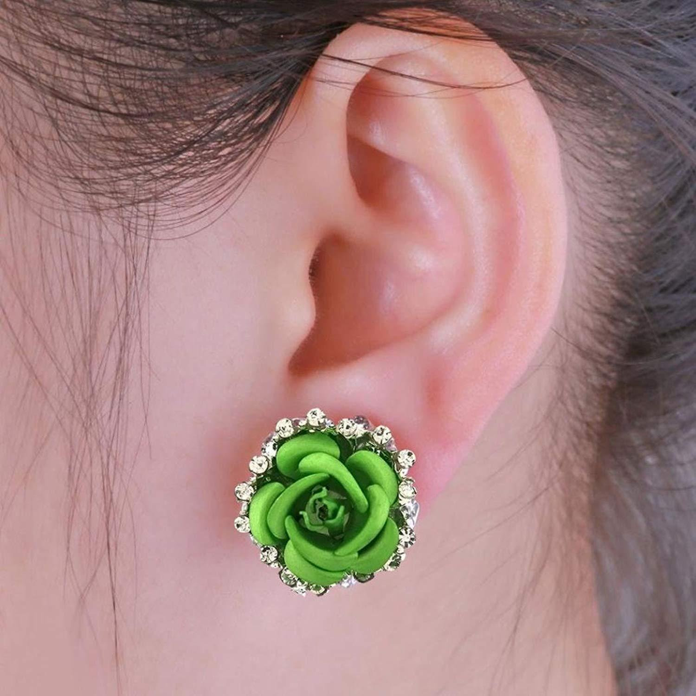 Gyoume Cute Rose Flower Stud Earrings Women Lady Girls Earrings Jewelry Lovers Gift