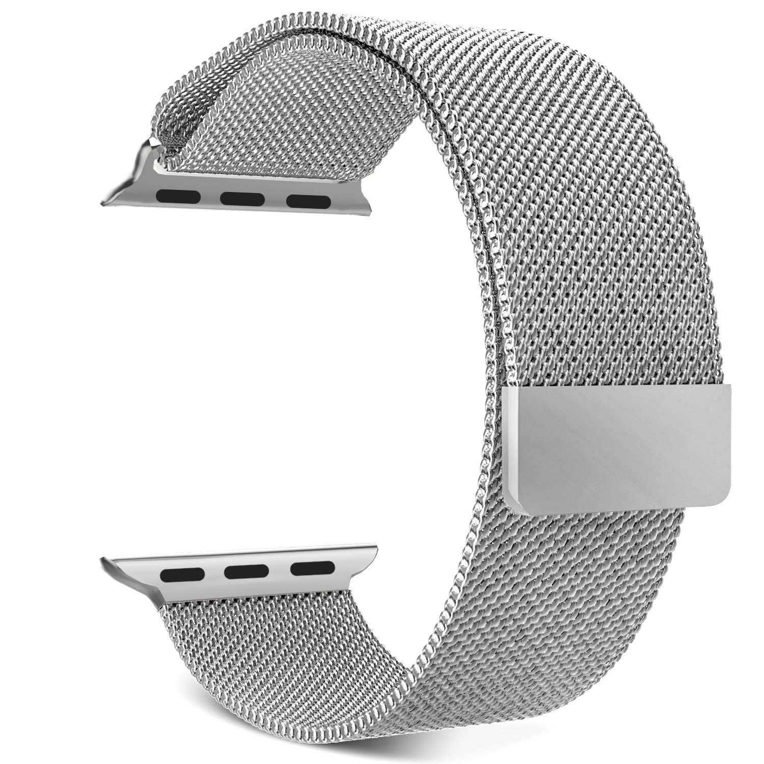 Apple Watch Band Series 1 Series 2, MoKo Milanese Loop Stainless Steel Bracelet Smart Watch Strap for iWatch 38mm All Models with Unique Magnet Lock, No Buckle Needed - SILVER (Not Fit iWatch 42mm)