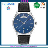 FS FLOWER - Casual Male Watches Shinning Case Leather Watch Strap Gents Watches