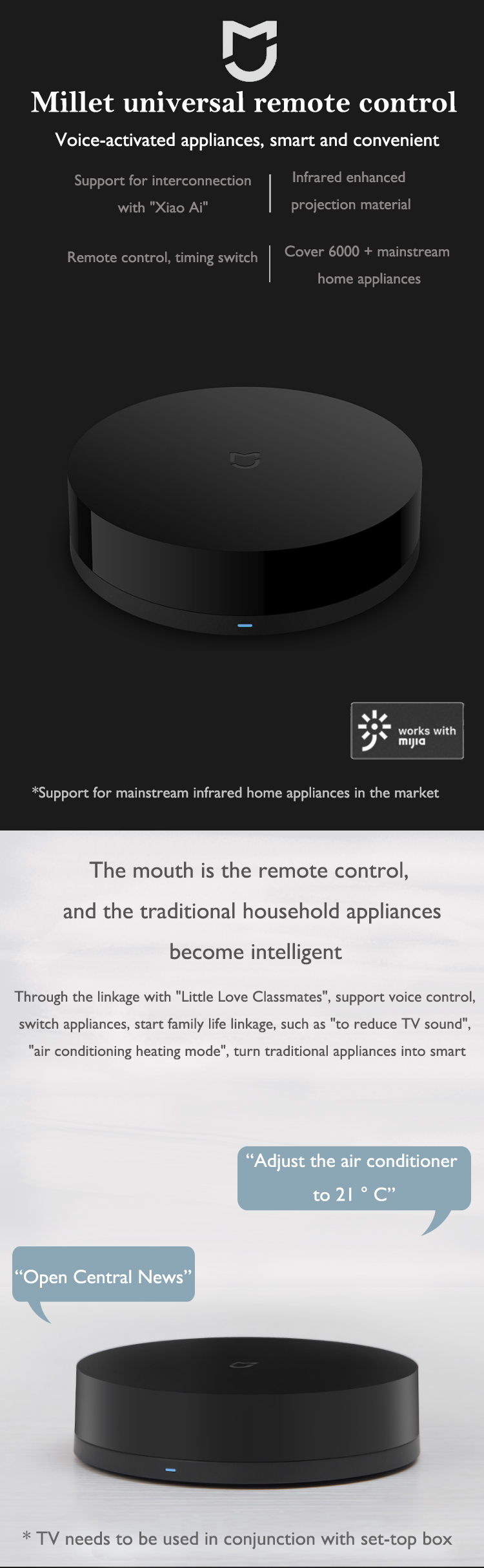 Xiaomi Mijia Universal Smart Remote Controller Wifi 360 Degree for Air Conditioner TV for smart home Mi Home Mijia APP