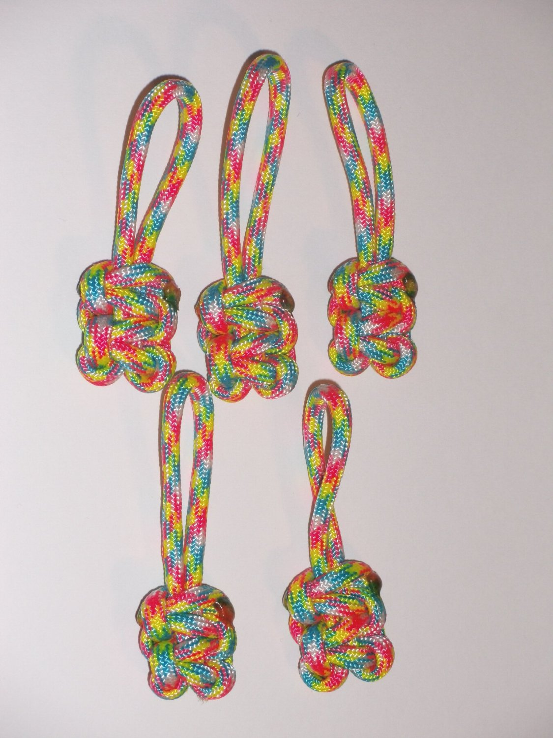RedVex Paracord Zipper Pulls / Lanyards - Lot of 5 - ~2.5 - Confetti