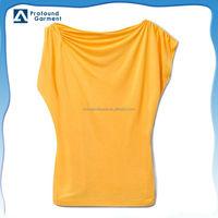 High quality cotton/viscose roll sleeves women t-shirt