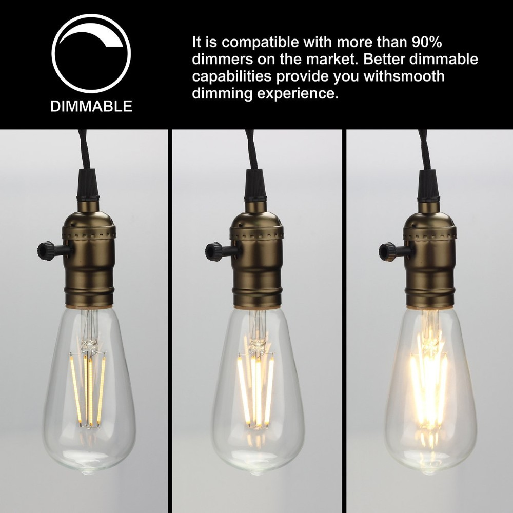 St64 Edison Led Bulb Dimmable 6w Replace 60w Halogen Lamp