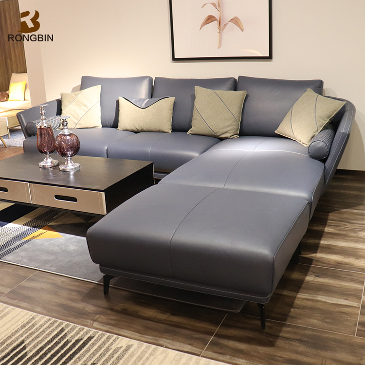 Alibaba Foshan Factory Italy Full Grain Leather Sectional Sofa New Model Sets Pictures