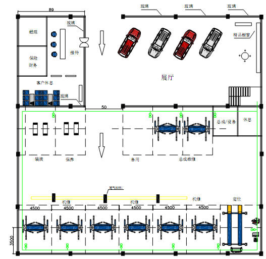 3 auto workshop design samples and equipment installation for Auto repair shop layout design