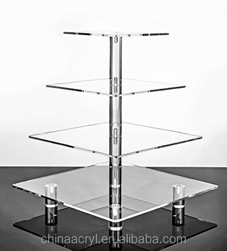wholesale 4 Tier Square Wedding Acrylic Cupcake Tower Stand