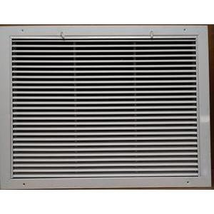 "GRILL TECH INC RAFFS2418 24"" X 18"" ALUMINUM RETURN AIR FILTER GRILLE, WHITE, INCLUDES FILTER, 1"" FILTER SIZE"