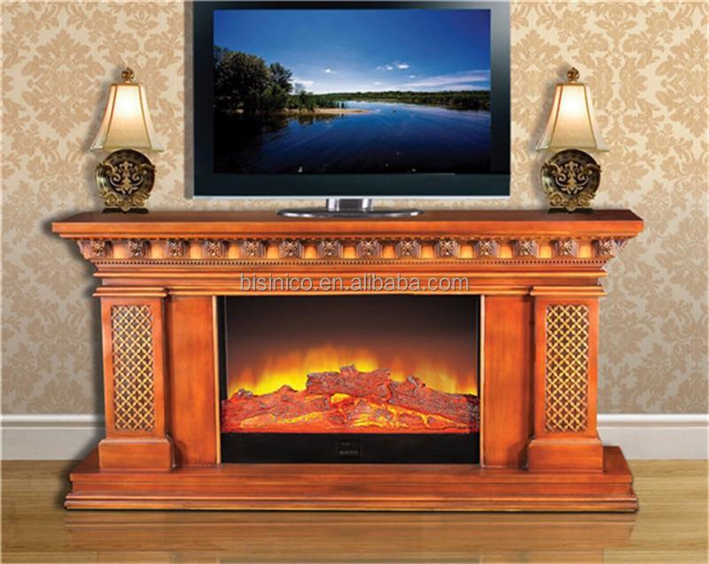 Antique en bois manteau de la chemin e meuble tv for Meuble leon foyer electrique