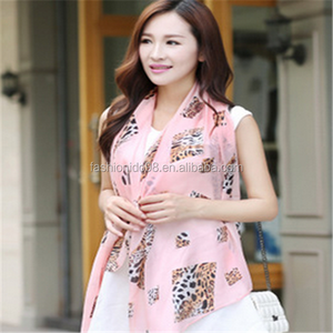 tiger grouper printing chiffon scarf for women